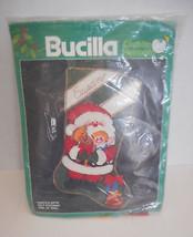 Vintagfe Bucilla Santa's Gifts Christmas Felt Stocking Kit  #82416  - $18.00