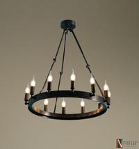 "Industrial Vintage style Camino Round Chandelier - 26""D Edison Light Fix... - £356.02 GBP"