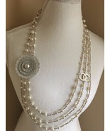 NWT CHANEL WHITE PEARL TRIPLE STRAND NECKLACE w... - $2,297.49