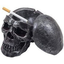 Spooky Human Skull Ashtray with Cover for Scary Halloween Decorations an... - $20.87