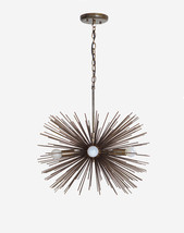 Mid century 5 Bulbs Antique Brass Sphere Urchin Chandelier Light Fixture - $395.01