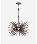 Mid century 5 Bulbs Antique Brass Sphere Urchin Chandelier Light Fixture - $523.28 CAD