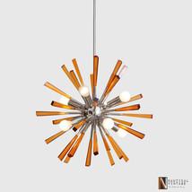 Modern Chrome Brass & Acrylic Crystal Rock Sputnik Chandelier Light Fixture - £313.21 GBP