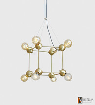 Italian Style Geometric Brass Chandeliers - Suspension Cable Brass Chand... - £548.71 GBP