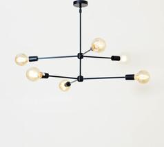 Mid century modern brass chandelier light fixture - 6 Arms Black Light F... - £148.36 GBP