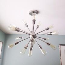 Vintage Mid Century Modern Round Sputnik Chandelier light fixture Brass ... - $395.01