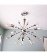 Vintage Mid Century Modern Round Sputnik Chandelier light fixture Brass ... - €338,33 EUR