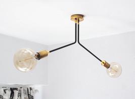 Modern Vintage Sputnik 2 Arm Ceiling Semi Flush Mount  Wall Sconce Light... - $395.01