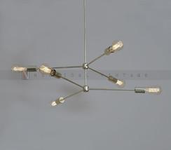 6 Arms Brass Light Fixture - Modern polished brass chandelier light fixture - £137.37 GBP