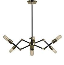 Black And Brass Sputnik Chandelier Fixture Light - £156.21 GBP