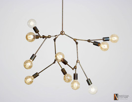 Large Modern Brass Diy Chandelier - 10 Edison Lights Ceiling Fixture - £352.46 GBP