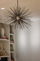 Mid Century Modern Sputnik Satellit Brass Sphere Urchin Chandelier Light... - £470.21 GBP