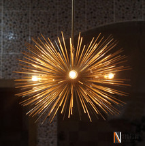 Mid century 5 Bulbs Gold Brass Sphere Urchin Chandelier Light Fixture - £313.21 GBP