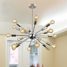 Mid Century Modern Round Sputnik Chandelier light fixture - Chrome Brass... - £273.96 GBP