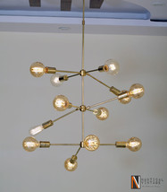 Mid-century Style Modern Brass 12 Arms Reef Chandelier Ceiling ight Fixture - £391.71 GBP