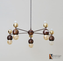 Mid-century Italian brass globe chandeliers Ceiling light Fixture - £548.71 GBP