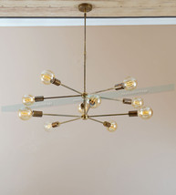 Mid century 10 arms modern brass chandelier - Industrial Hanging Light L... - £234.71 GBP