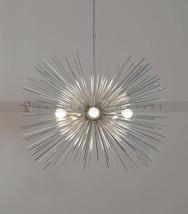 Mid century 5 Bulbs Chrome Brass Sphere Urchin Chandelier Light Fixture ... - £313.21 GBP