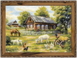 """Afternoon in the Country Counted Cross Stitch Kit Riolis New 19.75"""" x 13.75""""  - $49.49"""
