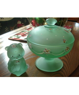 Fenton Willow Green Bear and Candy Dish Set - $69.95