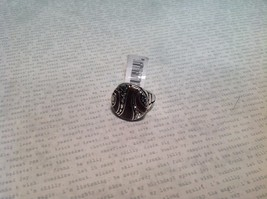 NEW Silver Tone Ring w Circular Face Plate w Chocolate Colored Enamel Sz 6 image 2