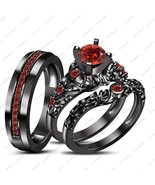 """Free Gift"" Red Garnet  Black Gold Fn New Design His Her Wedding Trio Ring Set - $178.99"
