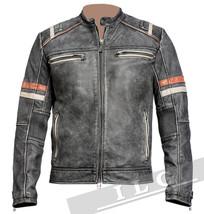 Men Vintage Biker Retro Motorcycle Cafe Racer Distressed Leather Jacket - FY - $78.20+