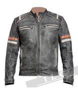 Men Vintage Biker Retro Motorcycle Cafe Racer Distressed Leather Jacket ... - $78.20+