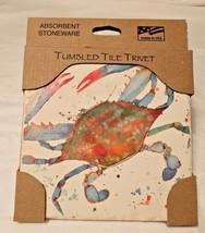 TUMBLED TILE TRIVET Absorbent Stoneware INDIGO LAGOON Crab LYNNEA WASHBU... - $24.95