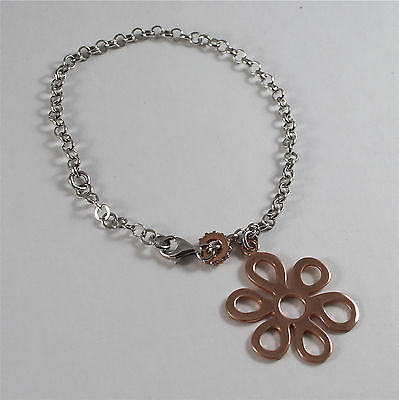 BRACELET WATERPROOF 925 SILVER WHITE AND PINK, PENDANT FLOWER-SHAPED PINK