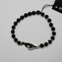 Silver 925 Bracelet with Onyx round BSP-4 Made in Italy by Maschia image 2