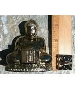 Vintage Brass Buddha Incense Burner Holder Figurine Lidded Felt Base Bud... - $21.49
