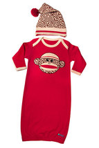 0-6 Months Sock Monkey Gown & Cap Set - $30.00