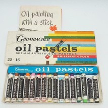 Vintage Grumbacher Oil Pastels Used Box Brilliant Colors Pentel Art Orig... - $19.79