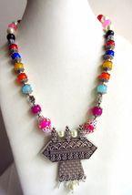 Indian Designer Oxidized Pendant Pearls Necklace Women's Ethnic Fashion Jewelry image 3
