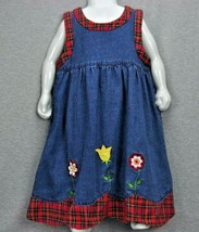 Denim Jumper Dress Girls 6X Red Plaid Trim Flowers Scallop Bottom 100% C... - $25.00