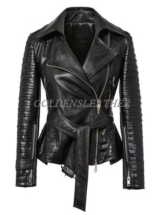WOMEN BIKER MOTORCYCLE CASUAL SLIM FIT RIDER REAL GENUINE  LEATHER JACKET-A38