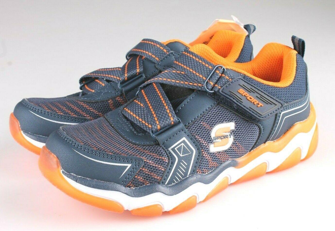 Skechers Boys S Sport blue orange Orin Hook & Loop Slip-on Sneaker Shoes 2 NWT