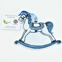 Handcrafted Rocking Horse Recycled Wood Craquelure Painted Ornament