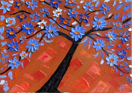 Original Hand Paint Gessoed Cardboard  Oil Painting Tree of Life Home  D... - $49.99