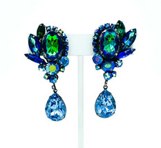 Vintage Juliana AB Blue Green Watermelon Aurora Rhinestone Cluster Earrings - $269.99