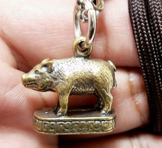 MAGIC PIG LP PAEW WIN OBSTACLE VICTORY BATCH THAI REAL AMULET PENDANT LU... - $19.99