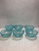 Set 6 Iridescent Turquoise blue pearl soup desert bowls scalloped wavy 5... - $79.19