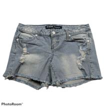 ZCO Jeans Premium Booty Denim Shorts Size 5 Blue White Pinstriped Distre... - $23.76