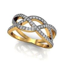 Certified Diamond Criss Cross Ring Wedding Gift Jewelry 14k Solid Yellow... - $705.40