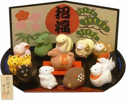 Japanese Zodiac New Year decorations 12 animals figurine w/Tracking# Jap... - $42.87