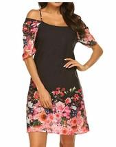 Women's Summer Chiffon Floral Printed Cold Shoulder Loose Short Dress Small - $14.20