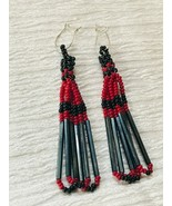 Estate Long Black & Cranberry Beaded Looped Dangle Earrings for Pierced ... - $11.29