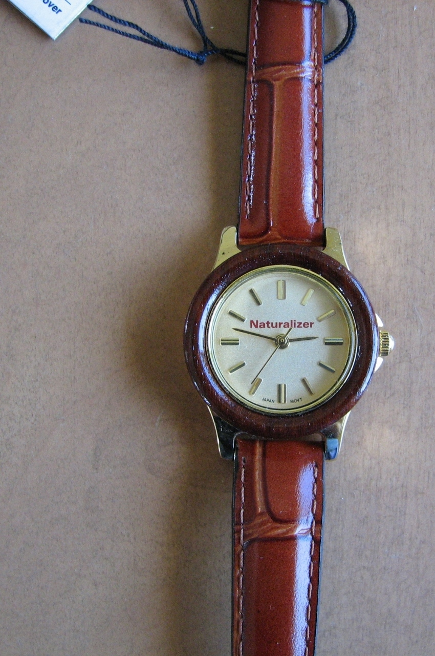Ladies Watch Naturalizer Brown Leather Strap Gold tone, Silver Color Metal case