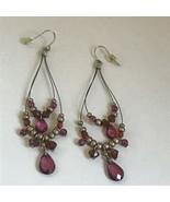 Estate Long Double Wire Loops w Goldtone Purple & Bronze Bead Dangle Ear... - $11.29